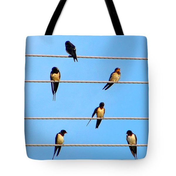 Tote Bag featuring the photograph Seven Swallows by Ana Maria Edulescu