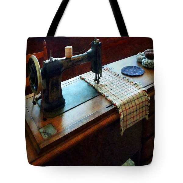 Sewing Machine And Pincushions Tote Bag by Susan Savad
