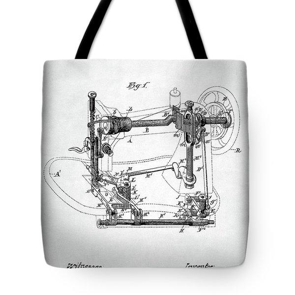 Tote Bag featuring the digital art Sewing Machine Patent by Taylan Apukovska