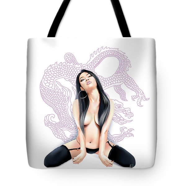 Tote Bag featuring the digital art Sexy Asian Dragon by Brian Gibbs