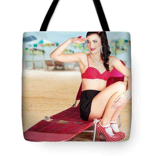 Sexy Beach Pin Up Girl Wearing High Heels Tote Bag
