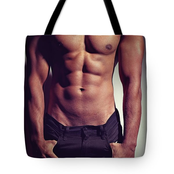 Sexy Male Muscular Body Tote Bag