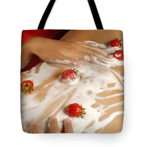 Sexy Nude Woman Body Covered With Cream And Strawberries Tote Bag