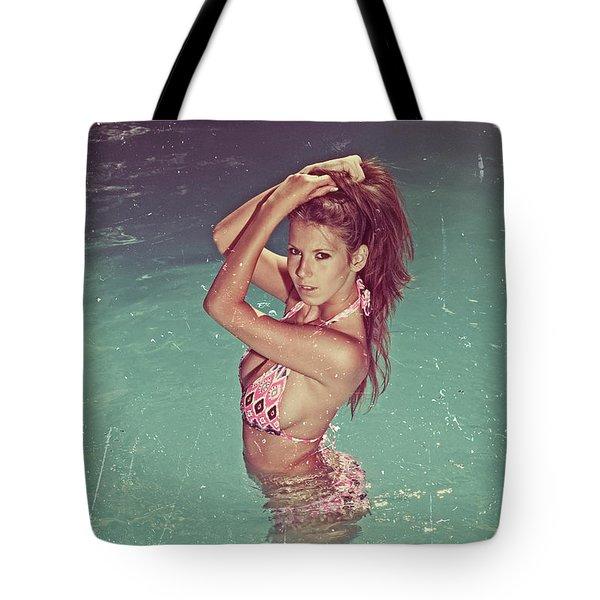 Sexy Woman In Bikini In The Water And Retro Look Image Finish Tote Bag
