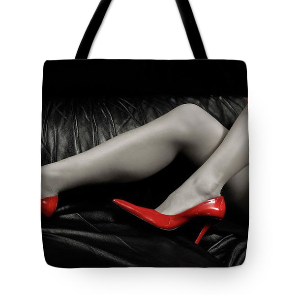 Sexy Woman Legs In Red High Heels Tote Bag