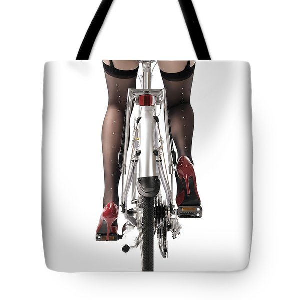 Sexy Woman Riding A Bike Tote Bag