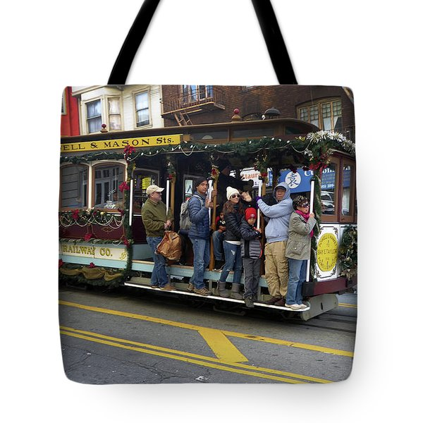 Tote Bag featuring the photograph Sf Cable Car Powell And Mason Sts by Steven Spak