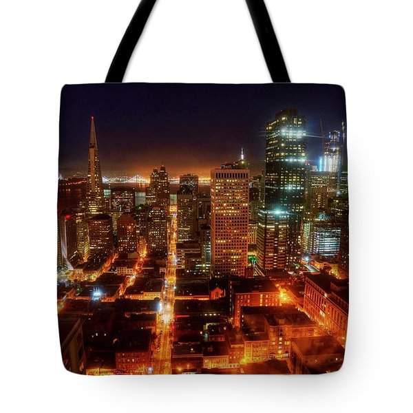 Tote Bag featuring the photograph Sf Gotham City by Peter Thoeny