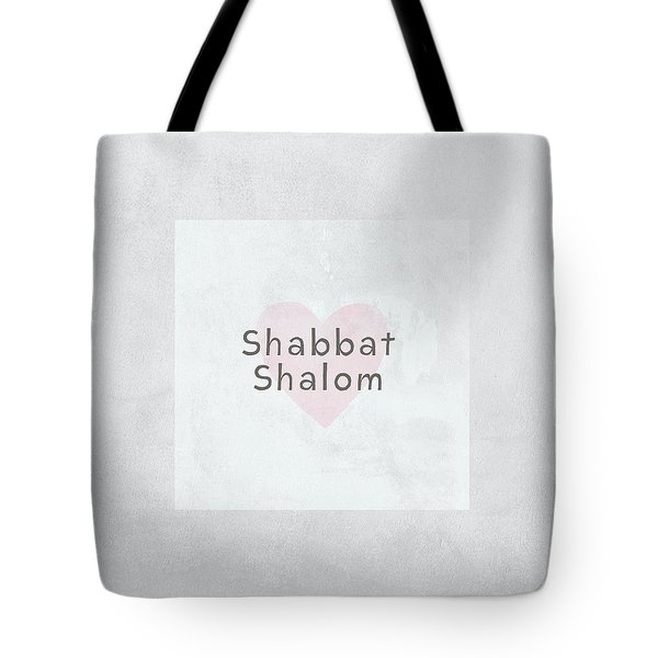 Tote Bag featuring the mixed media Shabbat Shalom Soft Heart- Art By Linda Woods by Linda Woods