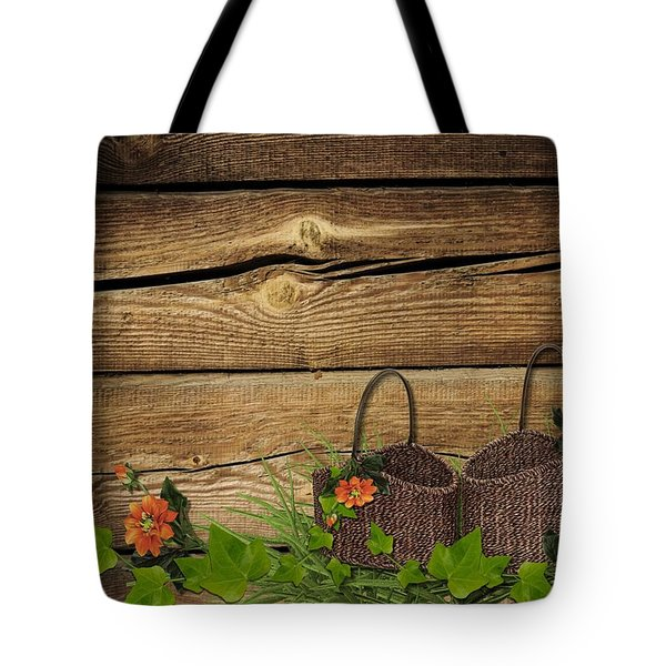 Shabby Chic Flowers In Rustic Basket Tote Bag