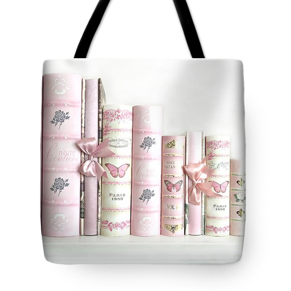 Tote Bag featuring the photograph Shabby Chic Pink Books Collection - Paris Pink Books Art Prints Home Decor by Kathy Fornal