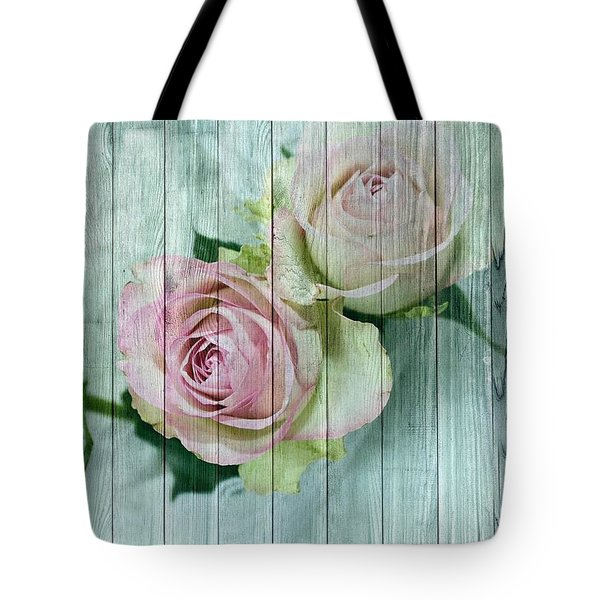 Shabby Chic Pink Roses On Blue Wood Tote Bag