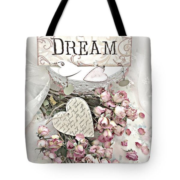 Tote Bag featuring the photograph Shabby Chic Romantic Dream Valentine Roses - Romantic Dreamy Roses Valentine Hearts by Kathy Fornal