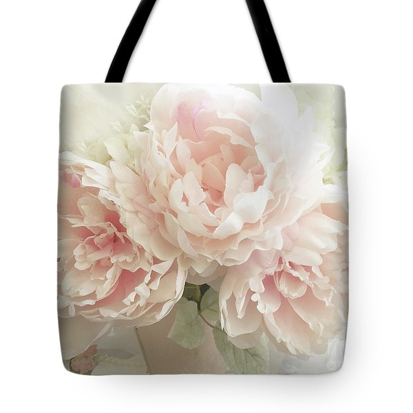 Tote Bag featuring the photograph Shabby Chic Romantic Pastel Pink Peonies Floral Art - Pastel Peonies Home Decor by Kathy Fornal