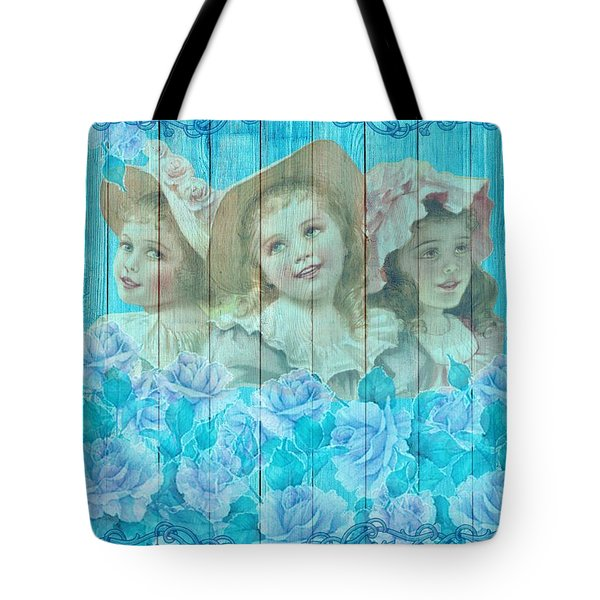 Shabby Chic Vintage Little Girls And Roses On Wood Tote Bag