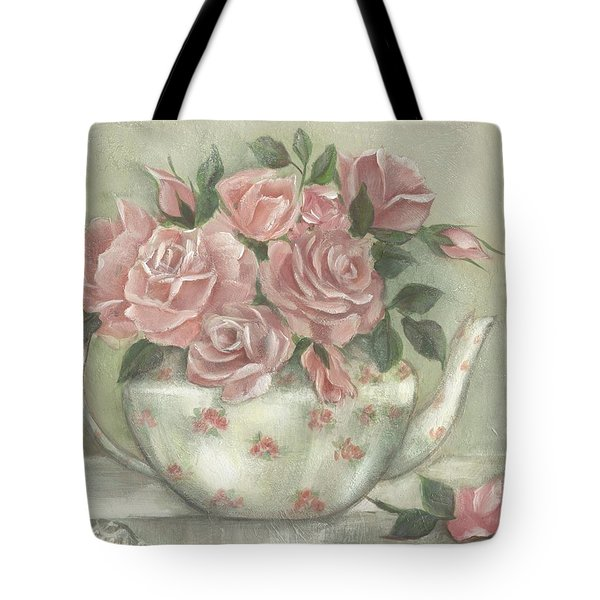 Shabby Teapot Rose Painting Tote Bag