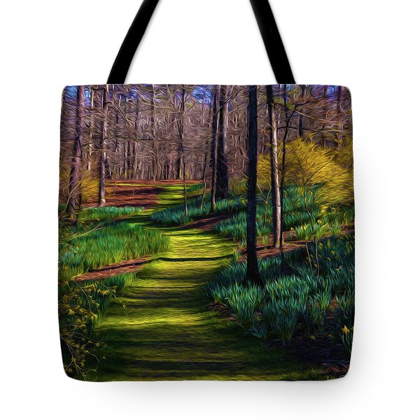 Tote Bag featuring the digital art Shaded Spring Stroll by Keith Smith