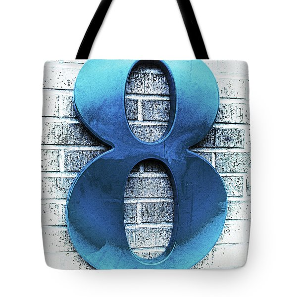 Shades  Of Blue Number Eight Square Tote Bag