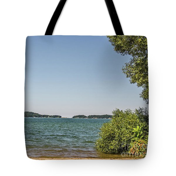 Tote Bag featuring the photograph Shades Of Green And Blue by Sue Smith