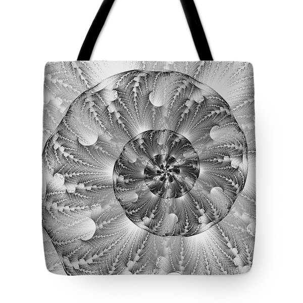 Tote Bag featuring the digital art Shades Of Silver by Lea Wiggins