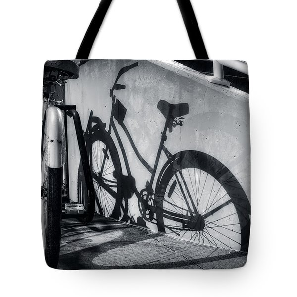 Shadow Of A Bike At Carolina Beach Tote Bag