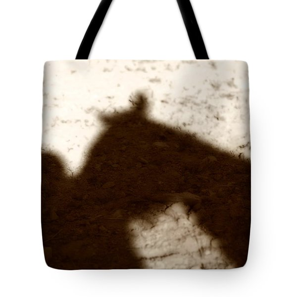 Shadow Of Horse And Girl Tote Bag by Angela Rath