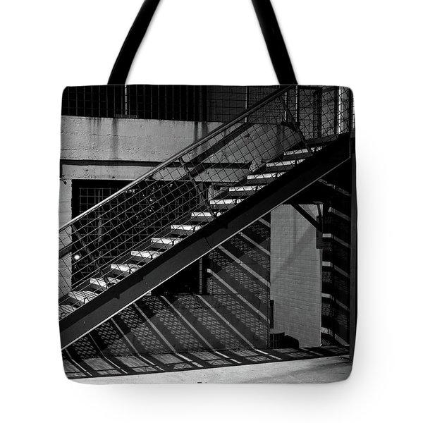 Shadow Of Stairs In Mono Tote Bag