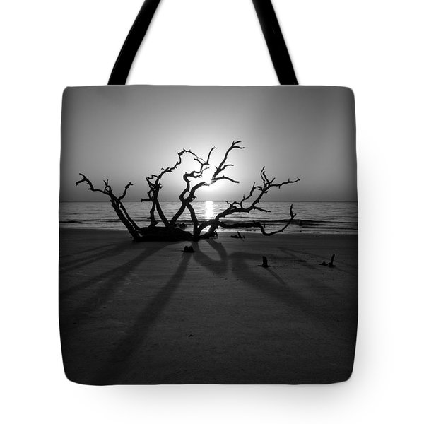 Shadows Of Driftwood In Black And White Tote Bag