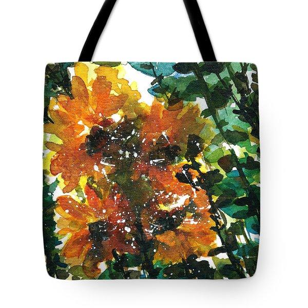 Shadows Of Sunflowers Tote Bag by Garima Srivastava