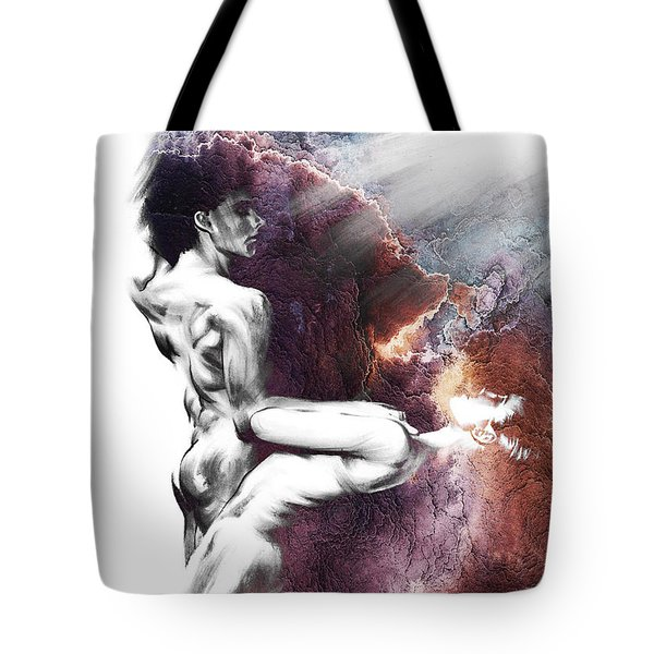 Shadowtwister Formation Conte Drawing - Textured  Tote Bag by Paul Davenport