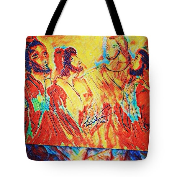 Shadrach, Meshach And Abednego In The Fire With Jesus Tote Bag
