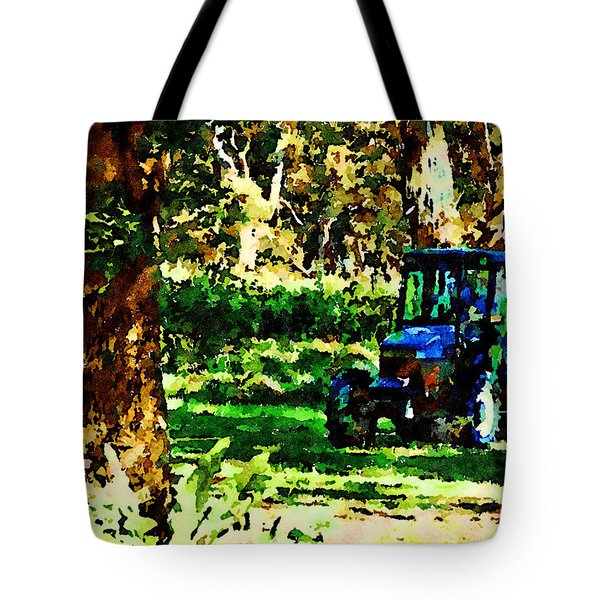 Tote Bag featuring the painting Shady Tractor by Angela Treat Lyon