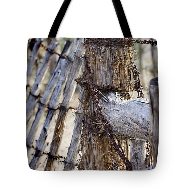 Tote Bag featuring the photograph Shaggy Fence Post by Phyllis Denton