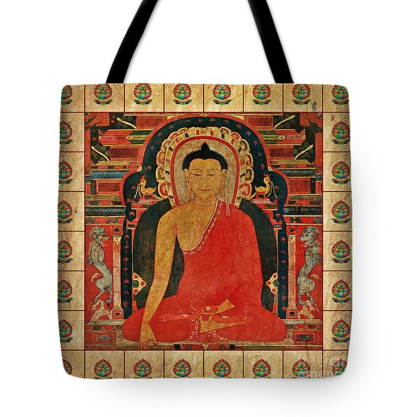 Tote Bag featuring the mixed media Shakyamuni Buddha by Lita Kelley