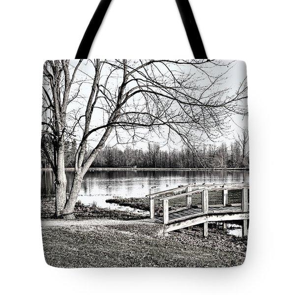 Shallow Creek Footbridge - B/w Tote Bag