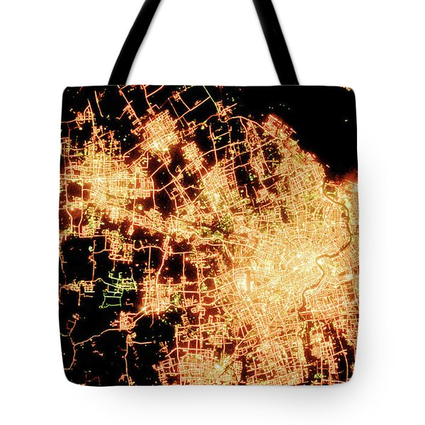 Shanghai From Space Tote Bag by Delphimages Photo Creations