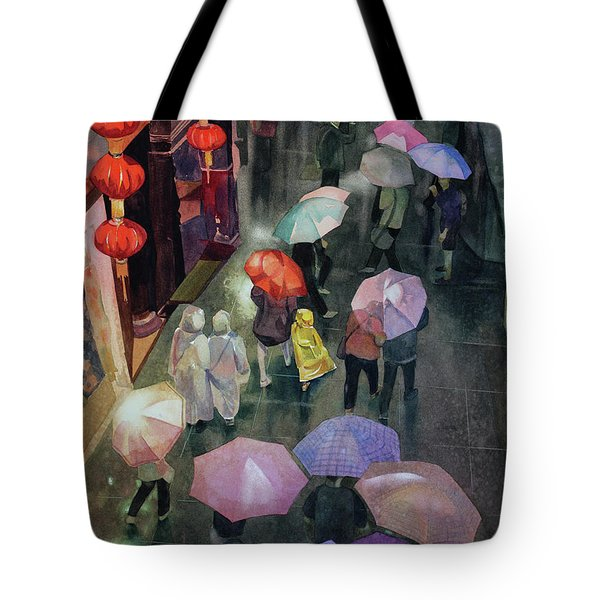 Tote Bag featuring the painting Shanghai Shoppers by Kris Parins