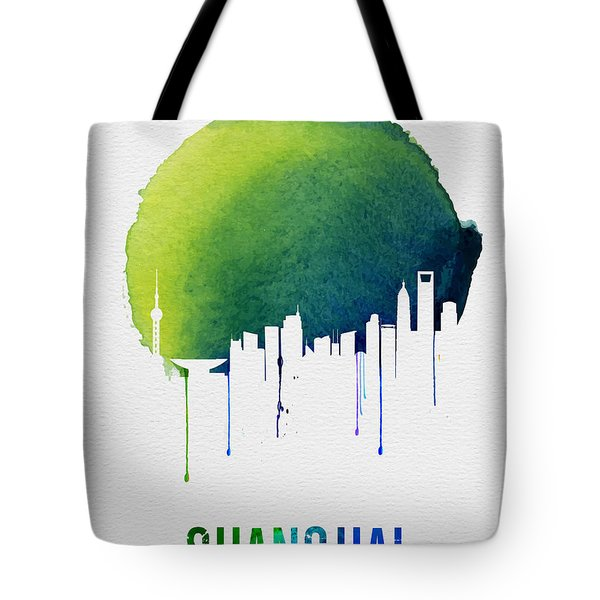 Shanghai Skyline Blue Tote Bag