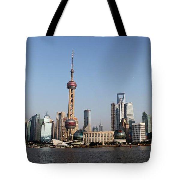 Shanghai Skyline Tote Bag by Thomas Marchessault