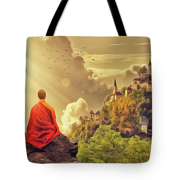 Tote Bag featuring the painting Shangri La by Harry Warrick