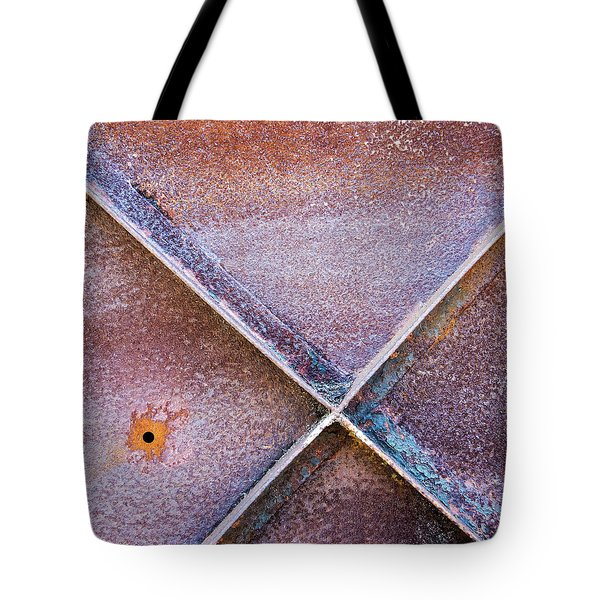 Tote Bag featuring the photograph Shapes And Textures On Bunker Door by Gary Slawsky