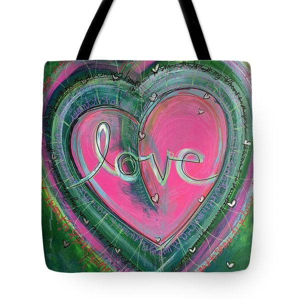 Tote Bag featuring the painting Share My Love Heart by Laurie Maves ART