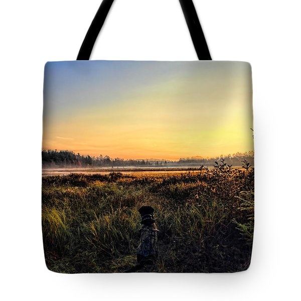 Sharing A September Sunrise With A Retriever Tote Bag