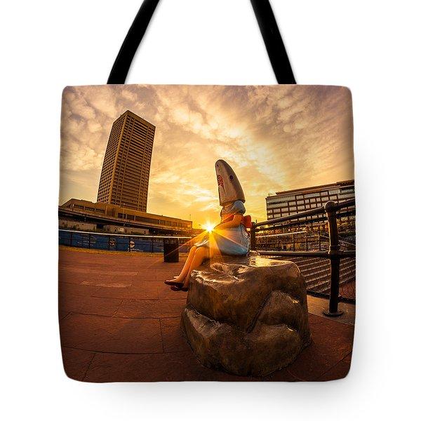Shark Girl Dawn - Square Tote Bag