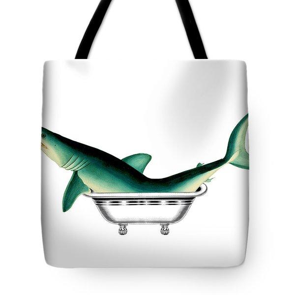 Shark In The Bath Tote Bag