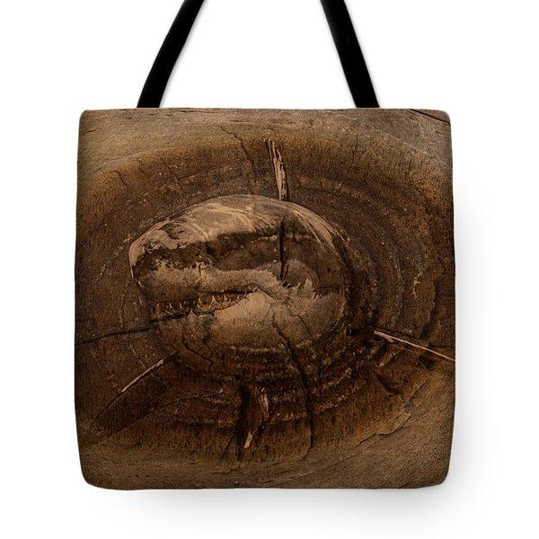 Shark In Wood Tote Bag