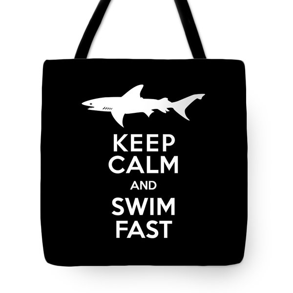 Shark Keep Calm And Swim Fast Tote Bag by Antique Images