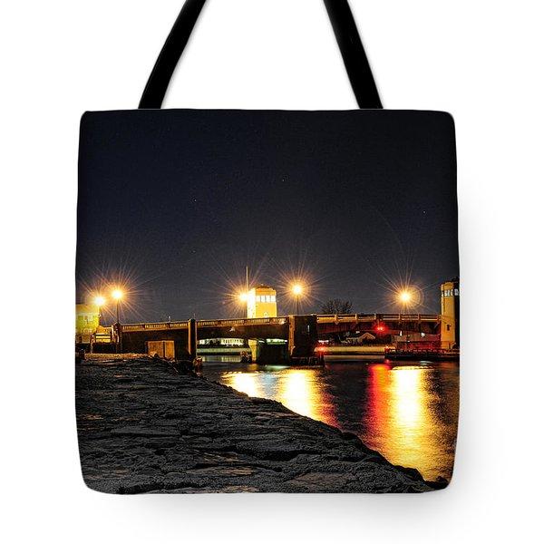 Shark River Inlet At Night Tote Bag by Paul Ward
