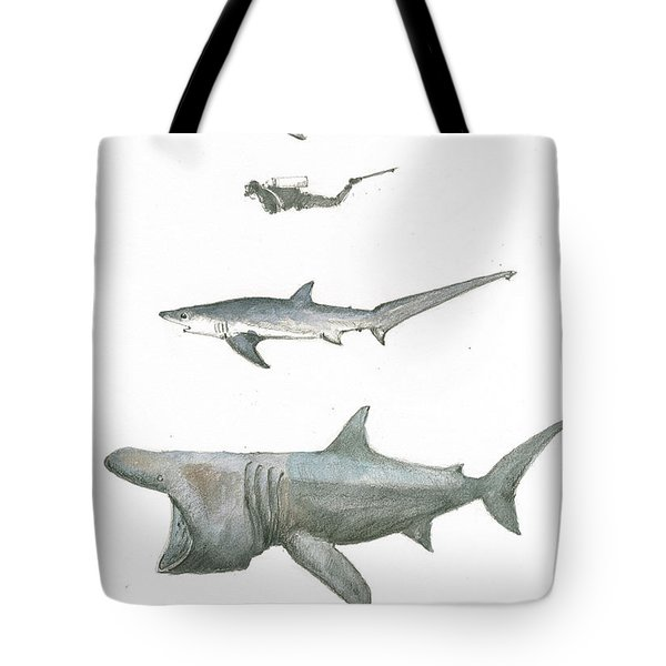 Sharks In The Deep Ocean Tote Bag by Juan Bosco