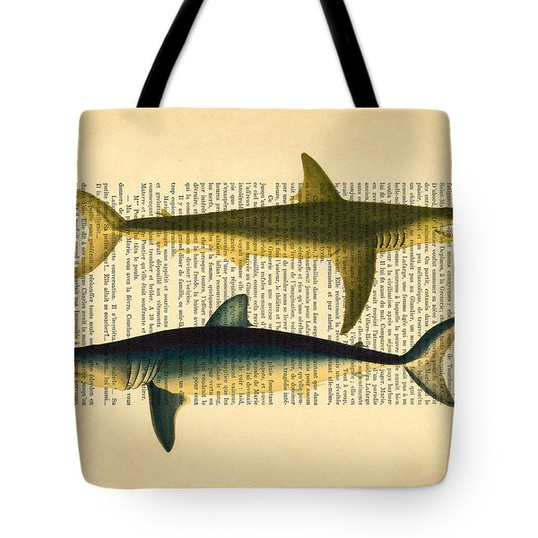 Sharks On Dictionary Art Paper Background Tote Bag